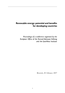 Renewable energy: potential and benefits for developing