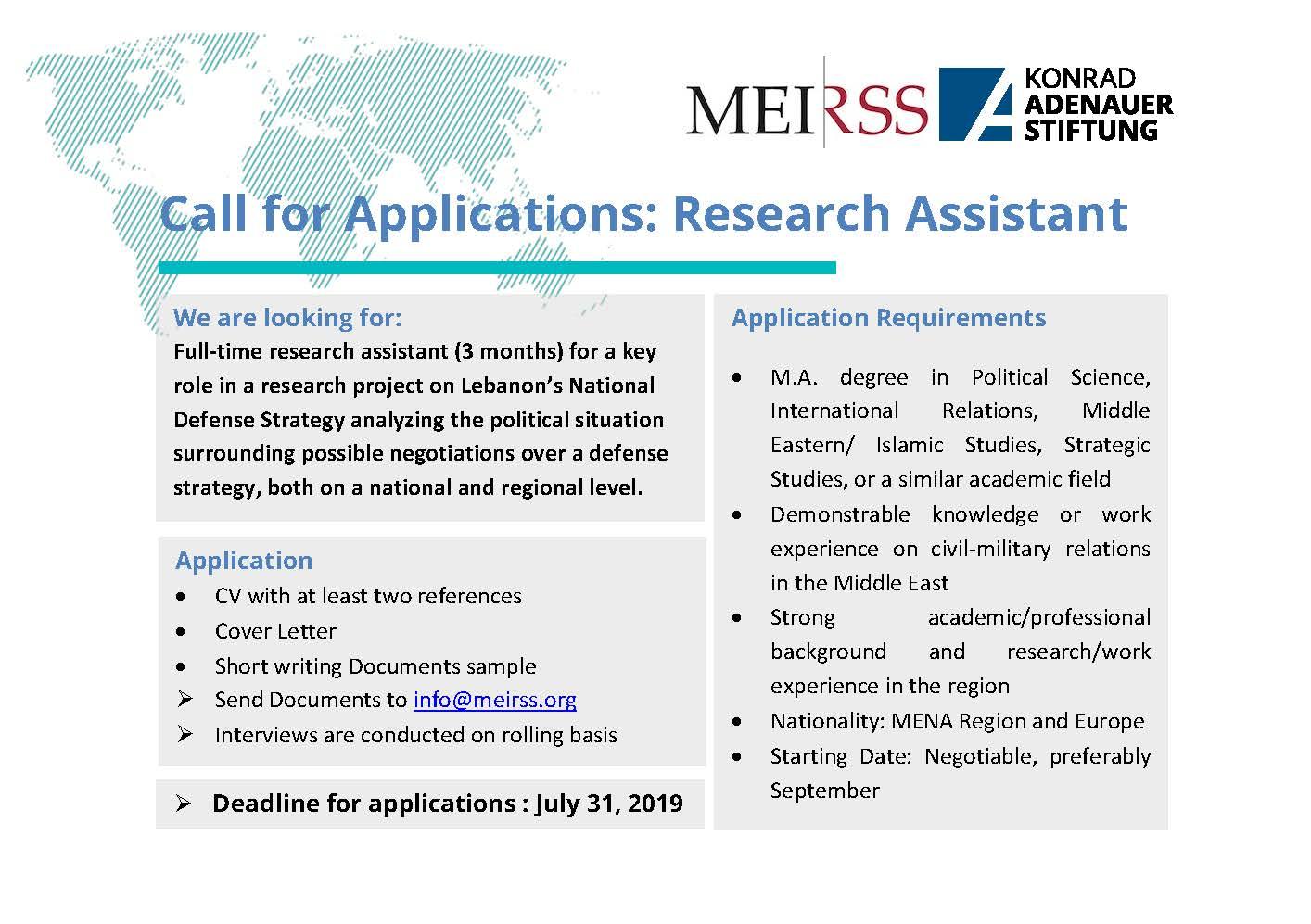 Konrad-Adenauer-Stiftung - Lebanon Office - Call for Applications