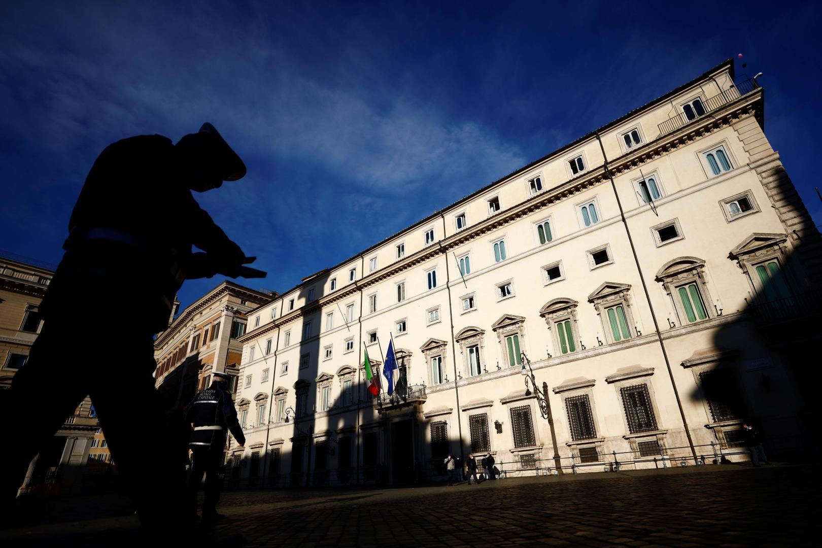 A general view of Chigi Palace, Italian prime minister's office, in Rome, Italy, January 13, 2021. REUTERS/Guglielmo Mangiapane