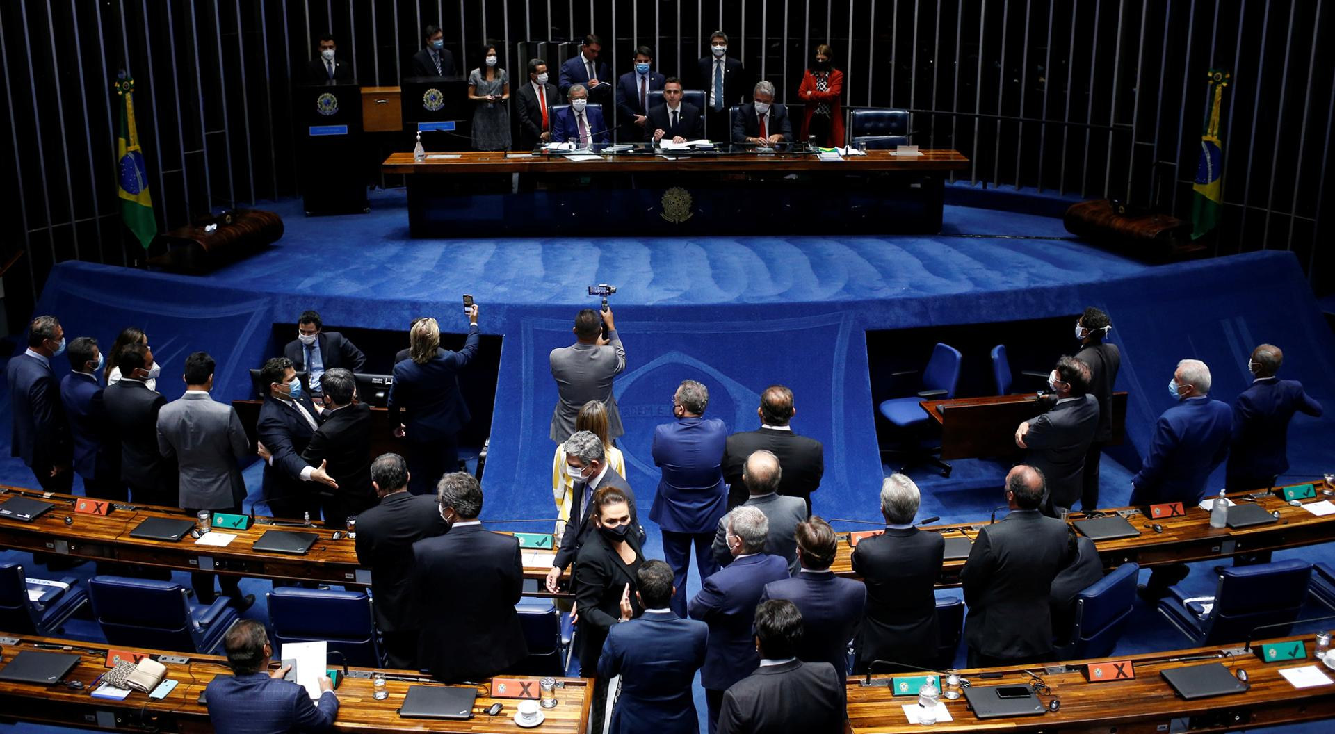 Senator Rodrigo Pacheco speaks after being elected the president of the Brazilian Senate in Brasilia, Brazil