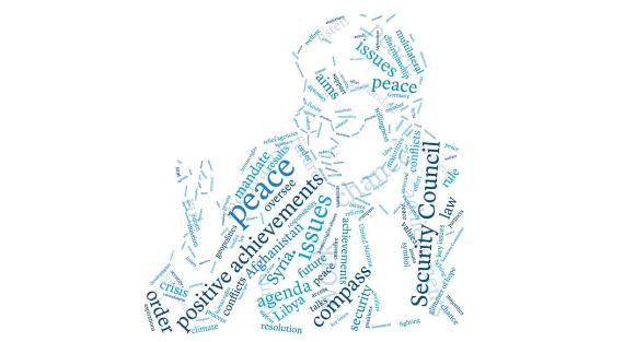 A word cloud in the shape of the face of Dr. Christoph Heusgen