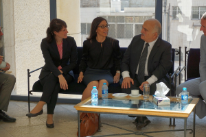 HRH Prince El Hassan bin Talal in conversation with Dr. Annette Ranko, Resident Representative of KAS Jordan Office, and Hiba Omari, honorary employee at KAS Saxony