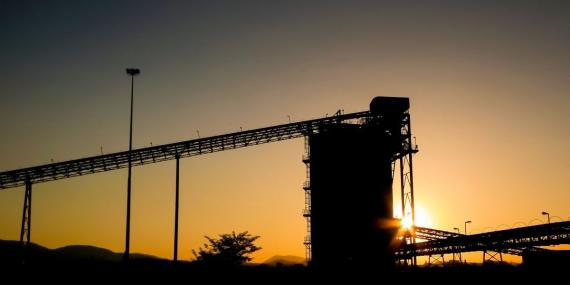 Palladium Platinum Mine conveyor belt and silo at sunset. Image: Getty, Sunshine Seeds/iStock