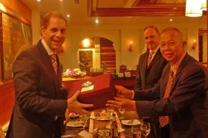 Dr. Gerhard Wahlers, Dr. Stefan Friedrich and Mr. Worakorn Yokying - Deputy Governor of Chiang Mai Province - during the dinner on 4th March 2012.
