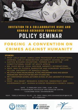 Invitation: FORGING A CONVENTION ON CRIMES AGAINST HUMANITY - Policy Seminar