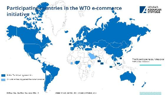 Countries participating in the WTO Electronic Commerce Initiative