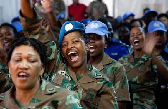 Female UN soldiers cheering