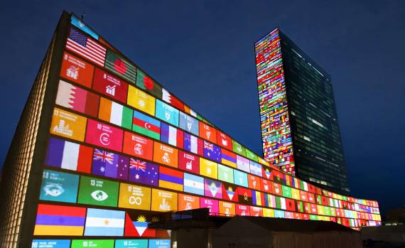Working with the United Nations and Academy Award nominee Richard Curtis, 59 Produc-tion designed a light show projected on two surfaces at the United Nations Headquarters in New York to celebrate the launch of the Global Goals for Sustainable in Development in 2015.