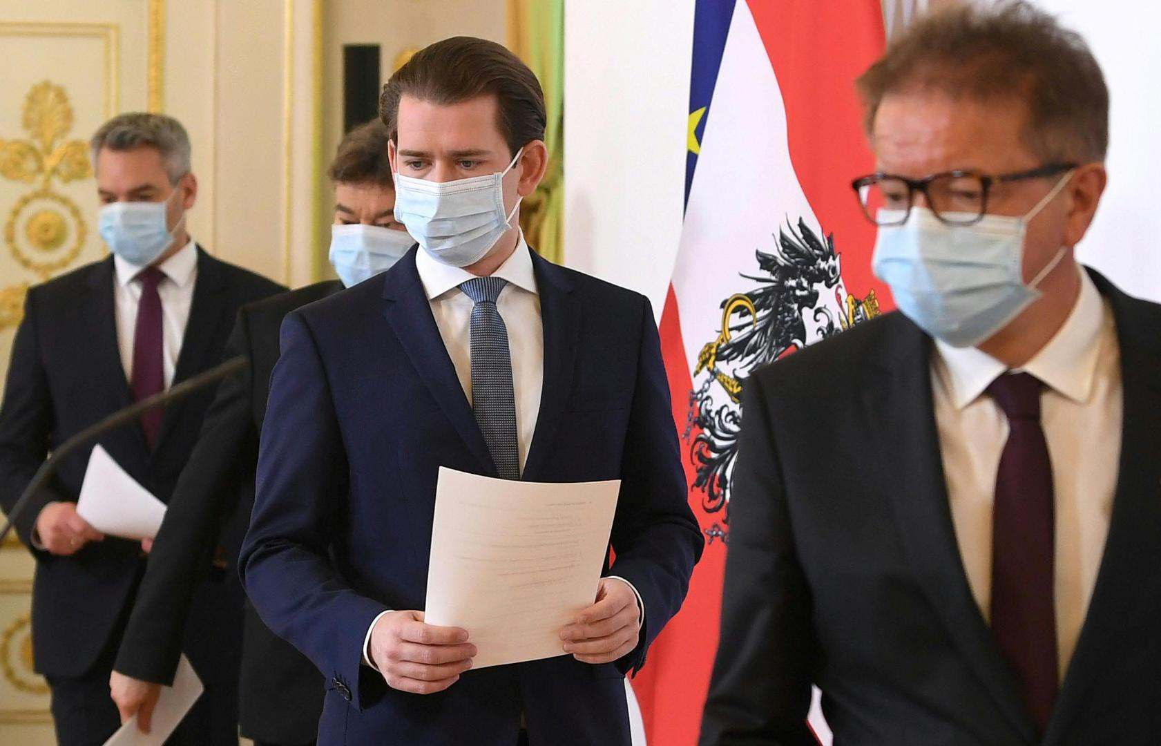 Austrian Chancellor Sebastian Kurz and Ministers arrive for a news conference in Vienna/reuters