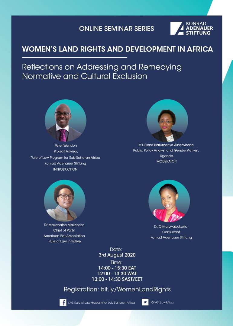 Part 3 of KAS' Online Seminar on Women's Land Rights and Development in Africa.  Register here: bit.ly/WomenLandRights