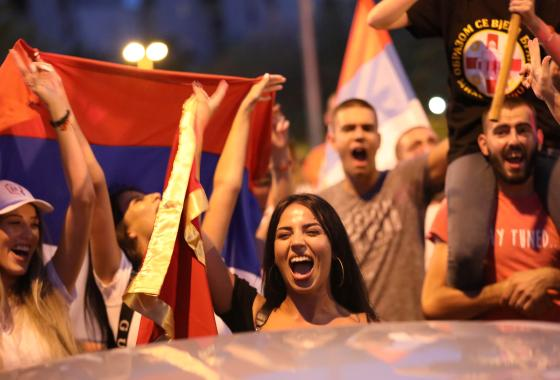 Opposition supporters celebrate election victory in Podgorica, Montenegro, August 31, 2020. REUTERS/Goran Tomasevic