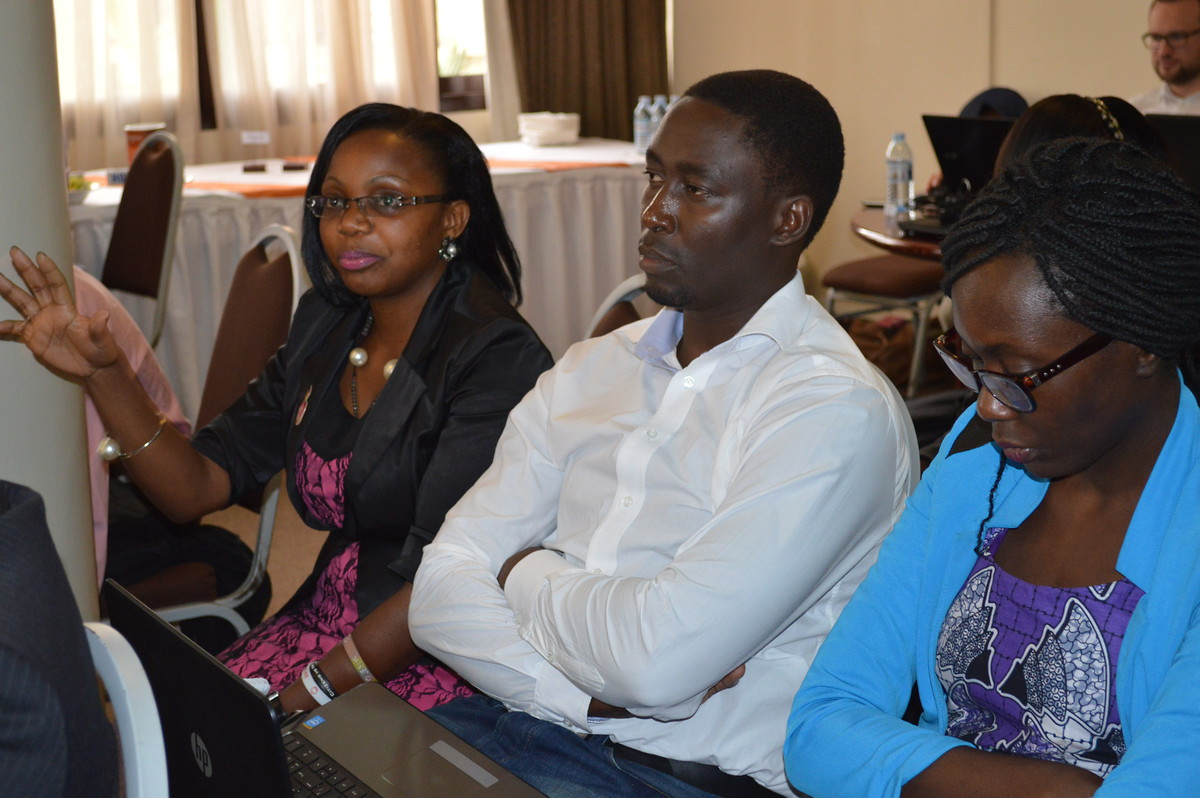 Flavia Nanjeru (left) and Martin Wanzala of the Think Tank actively following the discussion