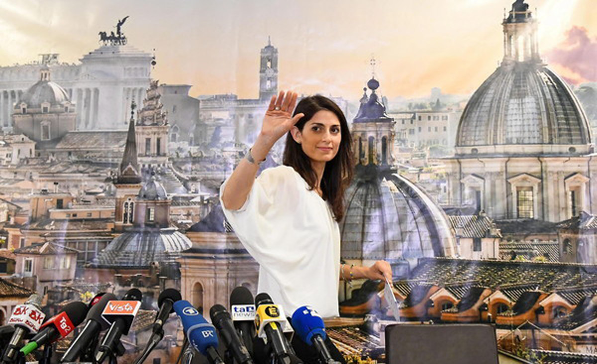 Virginia Raggi, Rome mayoral candidate for the anti-establishment Five Star Movement (M5S), gestures during a press conference in Rome, Italy, 20 June 2016.