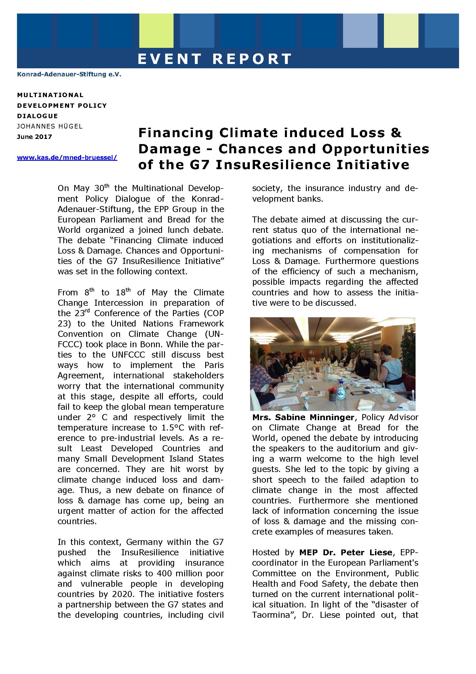 Cover: Financing climate induced loss & damage