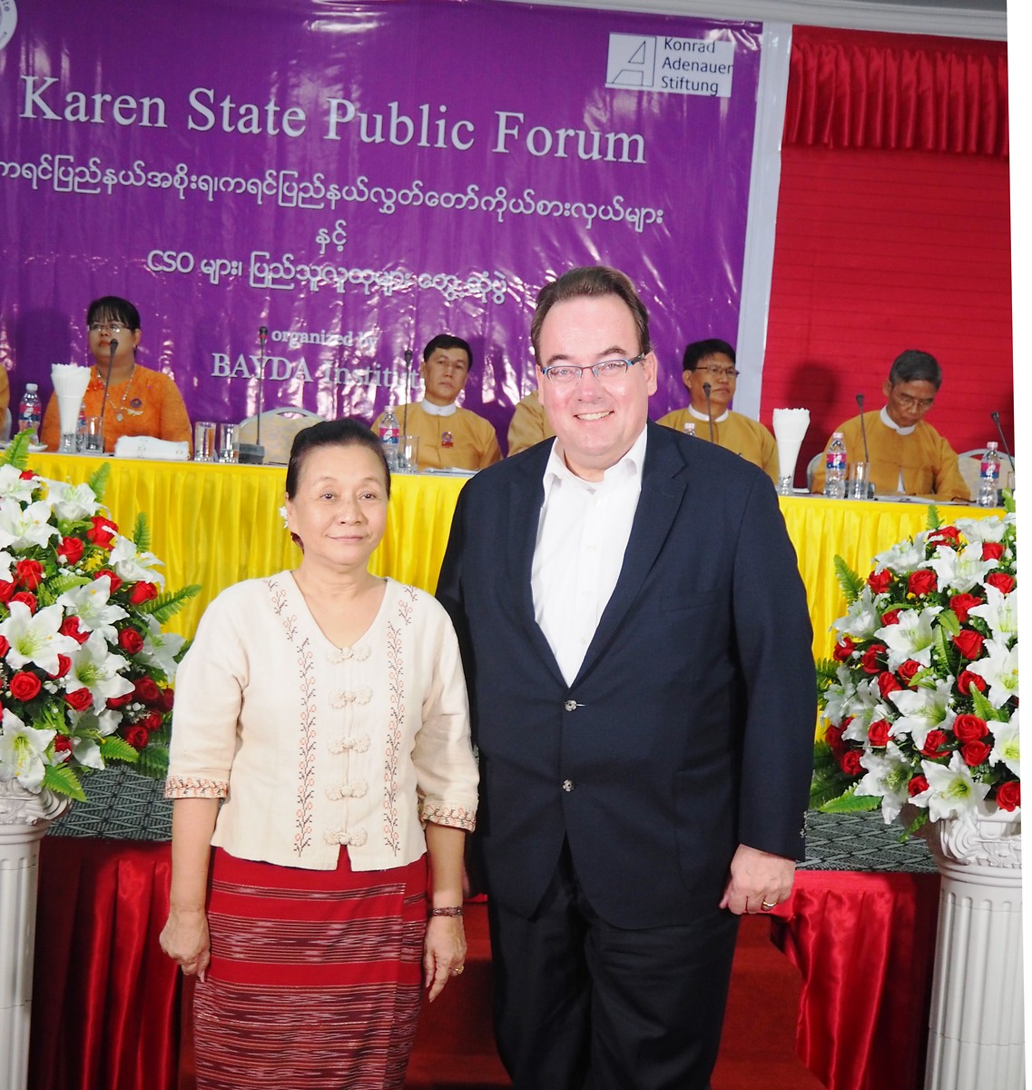Chief Miníster of the Karen State, Daw Nang Khin Htwe Myint, with Dr. Norbert Eschborn, Resident Representative of KAS Myanmar