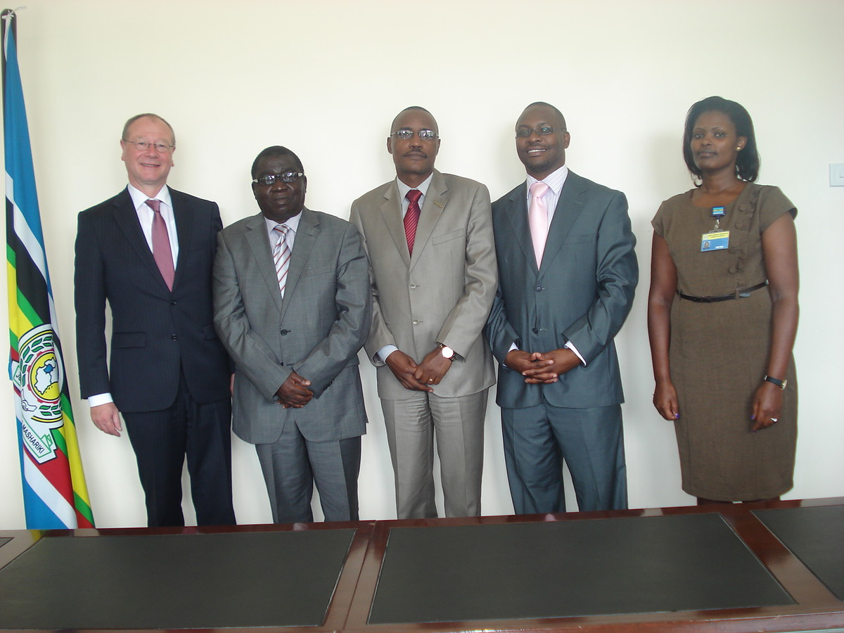L-R: Dr. Arne Wulff, Judge President Harold Nsekela, Prof. John Ruhangisa, Mr. Peter Wendoh and the Public Relations Officer of the Court