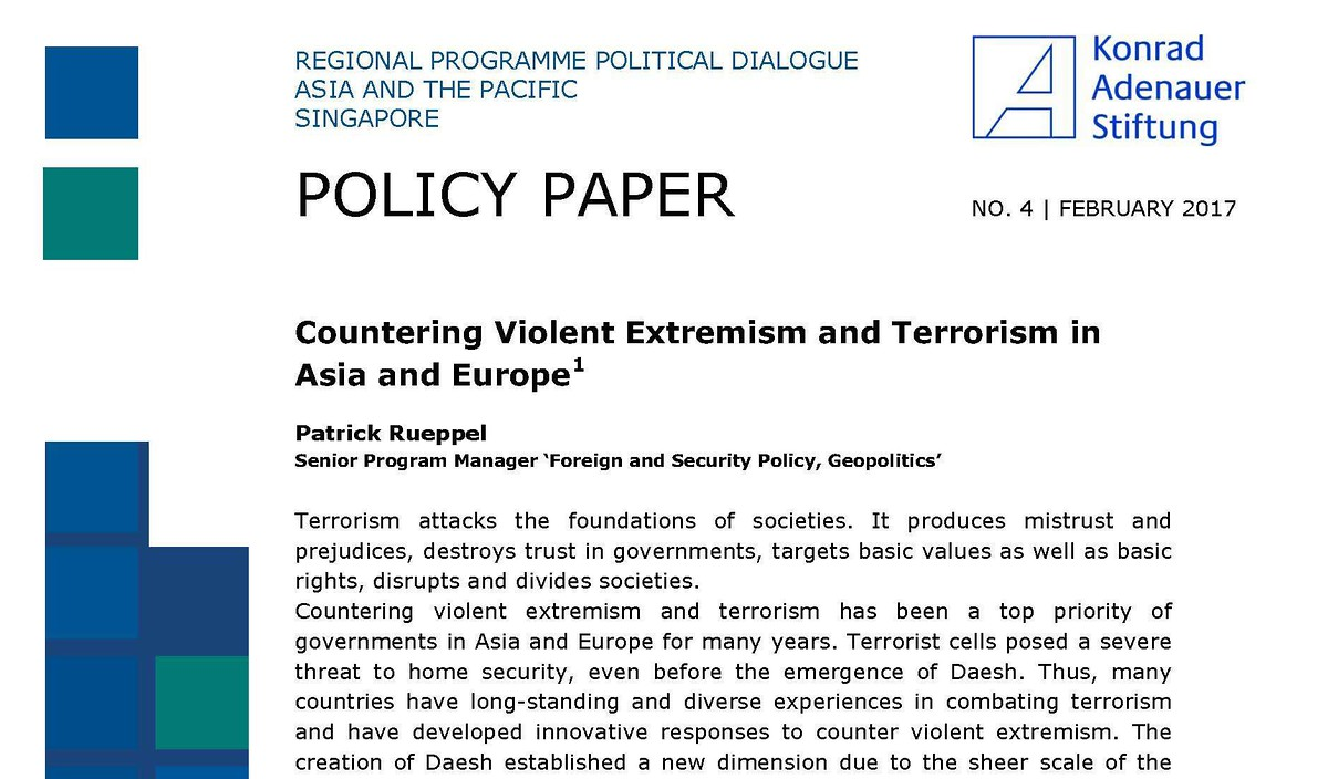 "Cover Policy Paper No. 4 ""Countering Violent Extremism and Terrorism in Asia and Europe"""