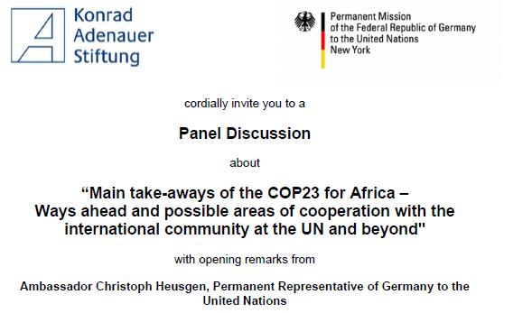 Panel Discussion about COP 23 at the United Nation HQ in NY on the 22.11.2017