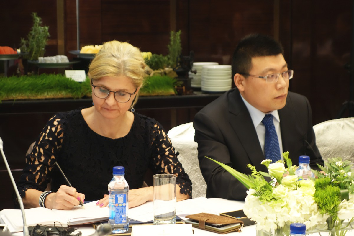 "Sandra Retzer, Head of Cluster ""Sustainable Urbanization, Transportation, Energy"", GIZ, und QI Yuanbo, stellv. Direktor des Technologienzentrums, Great Wall Motor Company"