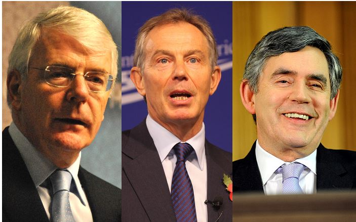 Former prime ministers (From left): Sir John Major, Tony Blair & Gordon Brown