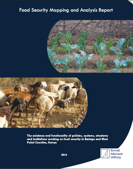 In the mid year of 2016, KAS Kenya commissioned the food security stakeholder mapping study that identified and outlined functions of existing policies and institutions charged with ensuring food security in Baringo and West Pokot counties. Findings of the study indicated that the two counties were generally food insecure with the existing strategies applied by state and non-state actors being fairly effective, efficient and sustainable in averting food insecurity and disasters such as drought.