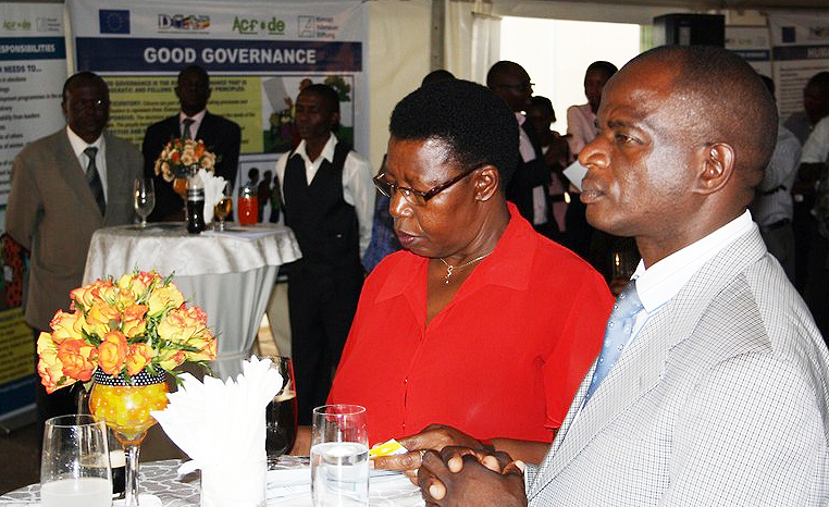 Hon. Miria Matembe with Paul Luberenga from Masaka district