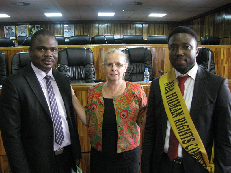Mrs. Behrendt-Kigozi with the Moderator and a Member of the NBA Human Rights Commission