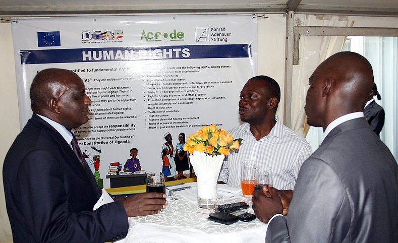 Participants interacting at the launch of the Democracy Torch