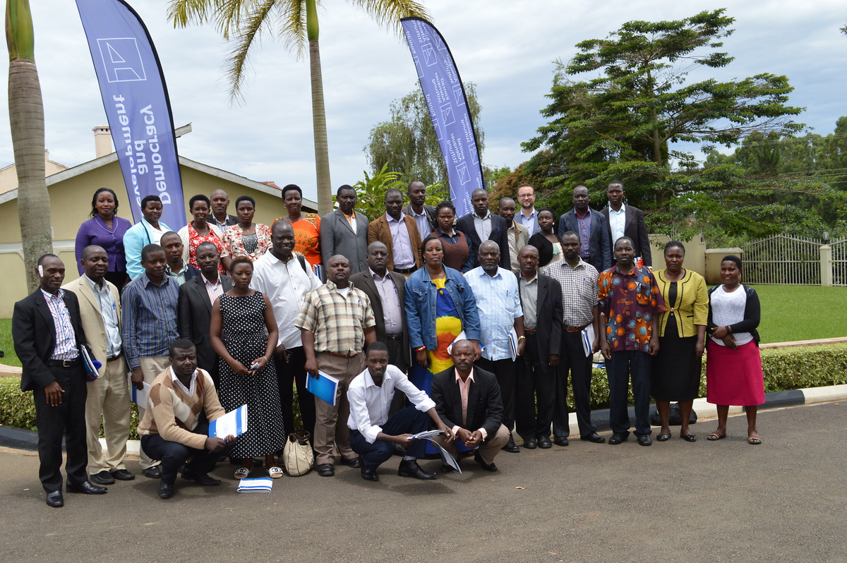 Participants pause for a group photo after the training