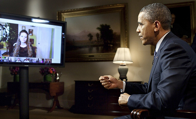 US-Präsident Barack Obama bei einem Hangout in Google+ | Foto: Wikipedia/The White House