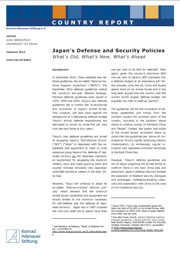 Cover: Japan's Defense and Security Policies