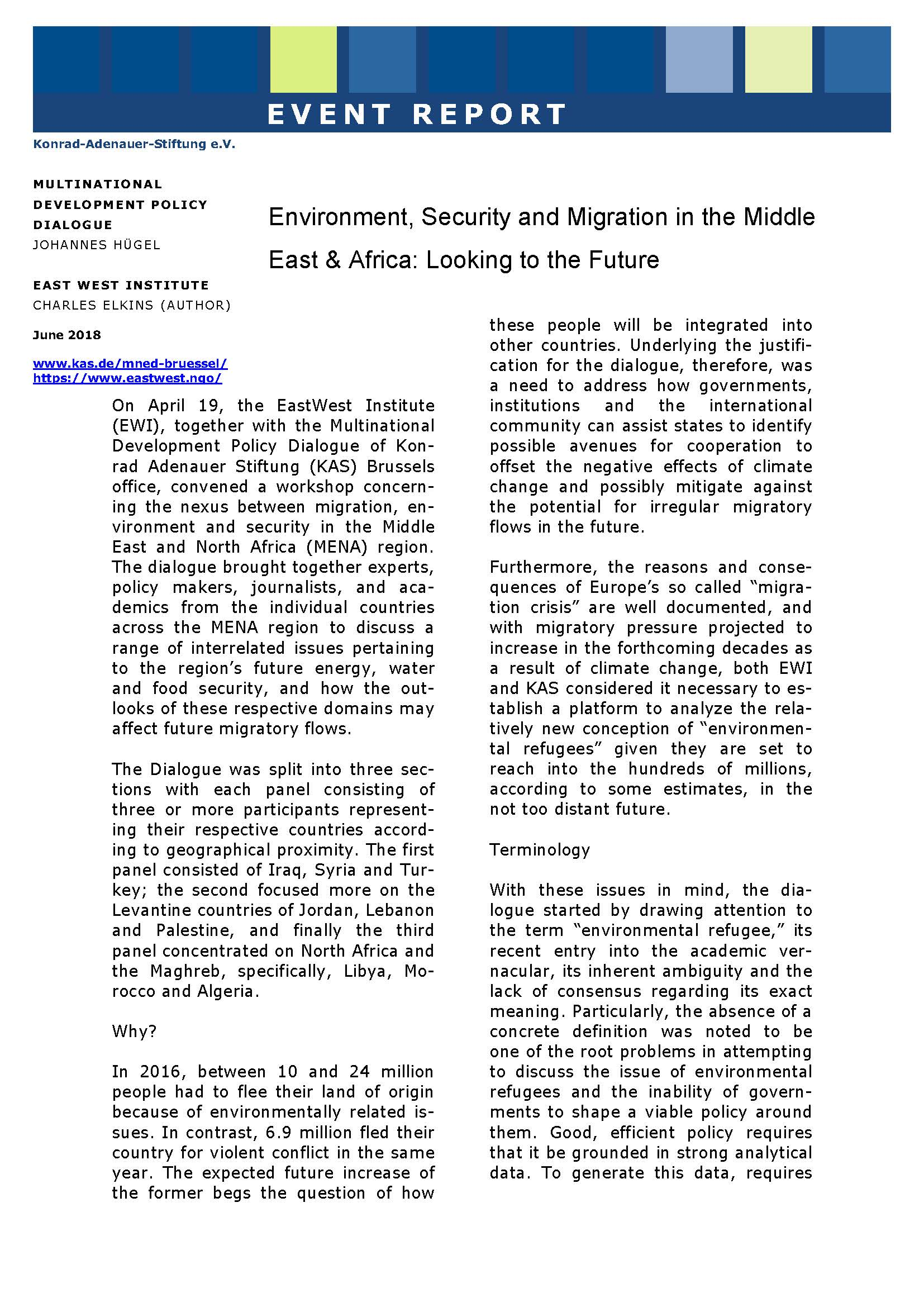 Cover: Environment, Security and Migration in the Middle East & Africa