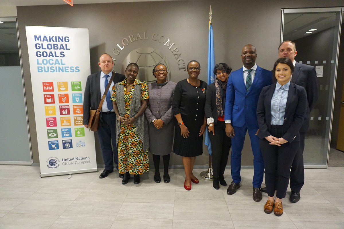 Olajobi Makinwa, Chief of the UN Global Compact's Africa Division welcomes the delegation in her office and discusses ways in which the private sector can serve as a catalyst for sustainable development with the participants.