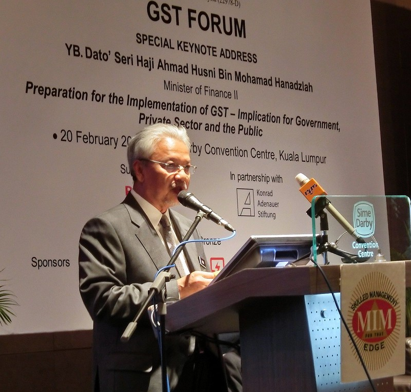 Dato' Haji Ahmad Husni b. Mohamad Hanadzlah, Minister of Finance II Malaysia speaking during the GST Forum on 20 February 2014.