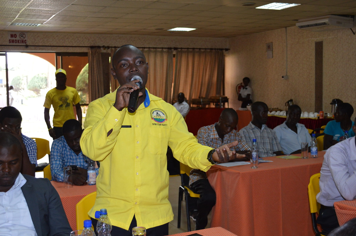 A senior member from NRM's Youth League making a plenary contribution