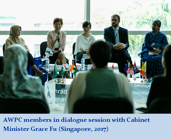 AWPC members in dialogue session with Cabinet Minister Grace Fu (Singapore, 2017)
