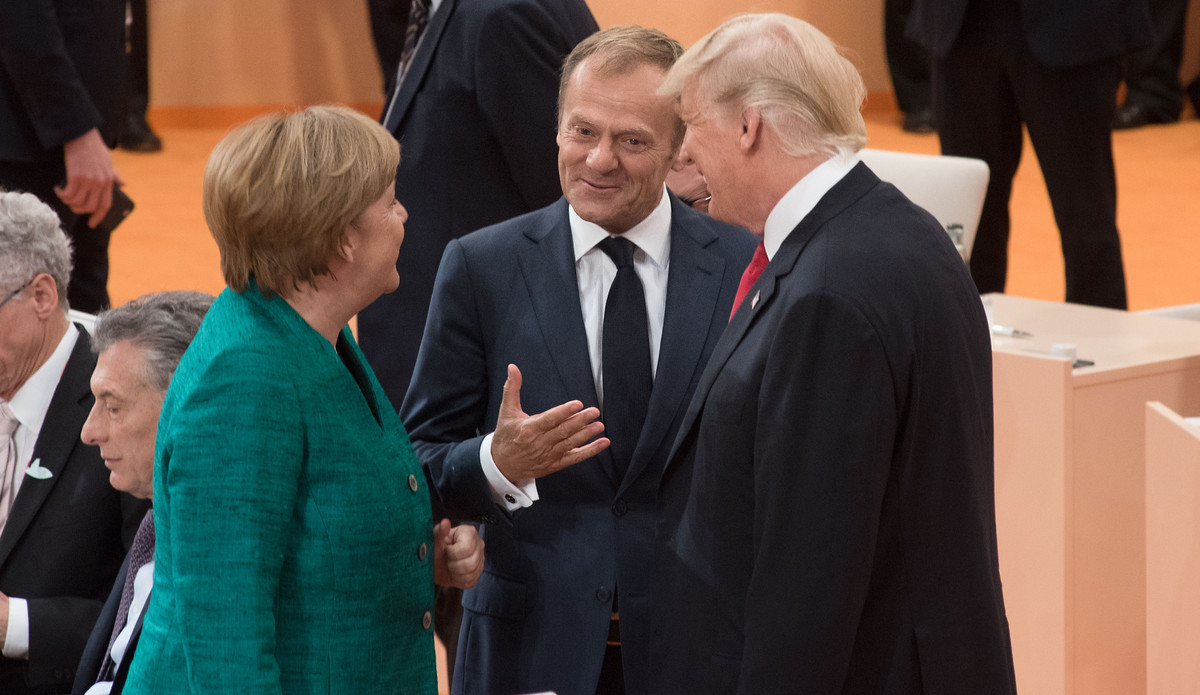 Bundeskanzlerin Angela Merkel, EU-Ratspräsident Donald Tusk und US-Präsident Donald Trump beim G20-Treffen, 8. Juli 2017. | © European Council President / Flickr / CC BY-NC-ND 2.0