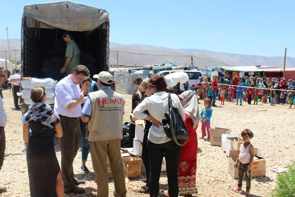 MP Tobias Zech in the Jeb Jannine refugee camp