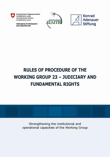 Cover: RULES OF PROCEDURE OF THE WORKING GROUP 23 – JUDICIARY AND FUNDAMENTAL RIGHTS (English version)