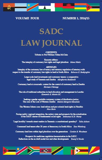 Cover: SADC Law Journal, Vol.04, No 01, 2014/15