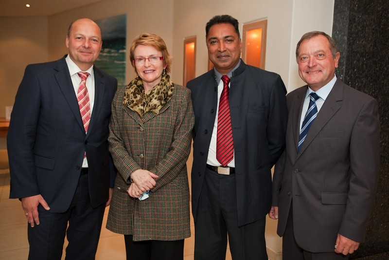"Dr. Holger Dix (KAS), Premier Helen Zille (Western Cape), Dr. Rama Naidu (DDP), Dr. Werner Boehler (KAS) at the function ""15 Years of the South African Constitution"" in Cape Town"